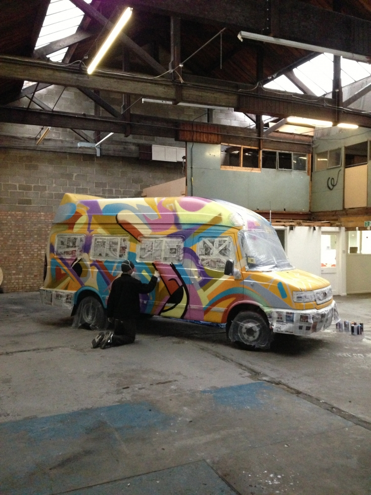 Space hire Oxford Kleiner Shames painting the 'Sport for Streets' van