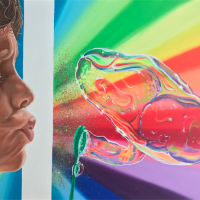 """'Blowing Bubbles' Acrylic on Canvas (24"""" x 18"""")"""