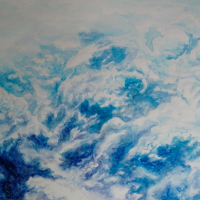 'Waves in the Clouds' watercolour on paper, 30 x 18cm (2018)