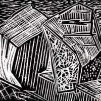 Love Rock Revisited - Woodcut on Hosho - 15 x 15 cm